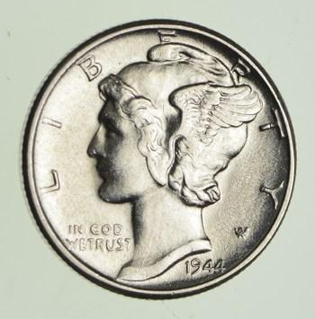 1944-D AU MERCURY DIME DENVER MINT ALMOST UNCIRCULATED 90/% SILVER COIN