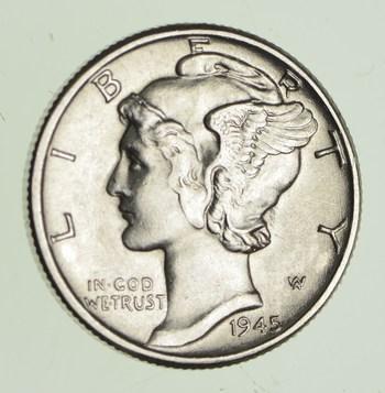 Ch AU/Unc 1945 Mercury Liberty Dime - 90% Silver - High Grade