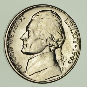 CH Lustrous - 5c 1943-D Jefferson WARTIME Silver Nickel