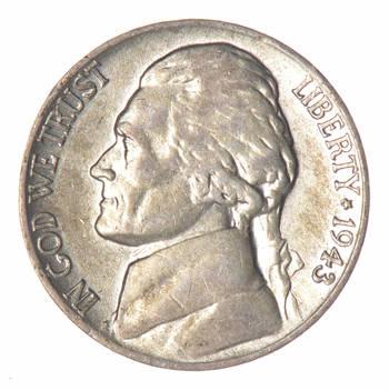 CH Lustrous - 5c 1943-P Jefferson WARTIME Silver Nickel