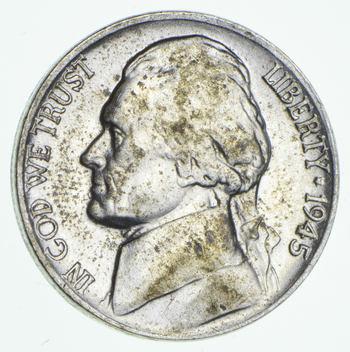 CH Lustrous - 5c 1945-P Jefferson WARTIME Silver Nickel