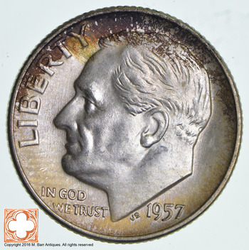 Ch Unc 1957-D Roosevelt 90% Silver United States Dime
