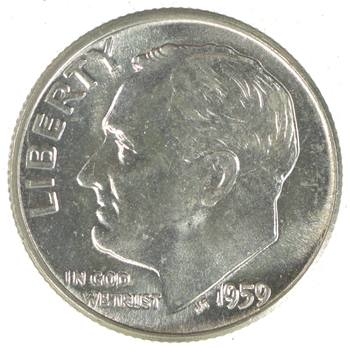 Ch Unc 1959 Roosevelt 90% Silver United States Dime