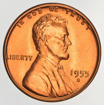 Ch Unc - Cherry Red 1955-S Lincoln Wheat Cent - Tough Year
