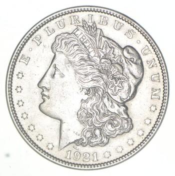 Choice AU/UNC 1921 Morgan Silver Dollar - Last Year of Issue - Great Luster