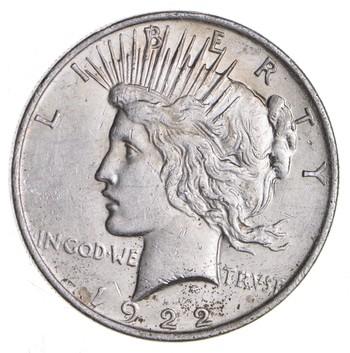 Choice AU/UNC 1922 Peace Silver Dollar - 90% Silver