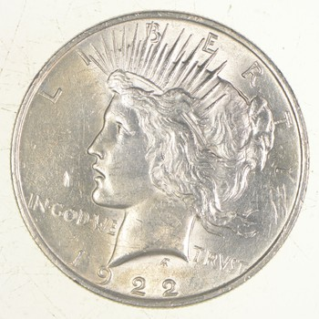 Choice AU/UNC 1922 Peace Silver Dollar - 90% Silver