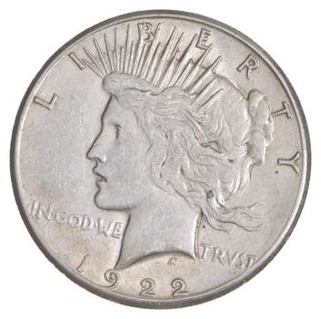 Choice AU/UNC 1922-S Peace Silver Dollar - 90% Silver