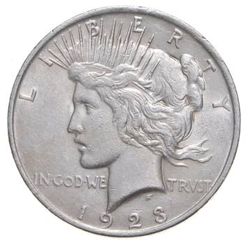 Choice AU/UNC 1923 Peace Silver Dollar - 90% Silver