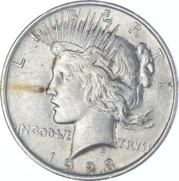 Choice AU/UNC 1923 Peace Silver Dollar - 90% Silver