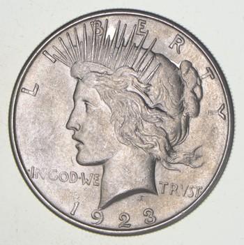Choice AU/UNC 1923-S Peace Silver Dollar - 90% Silver