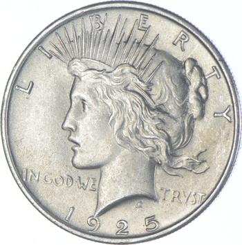 Choice AU/UNC 1925 Peace Silver Dollar - 90% Silver