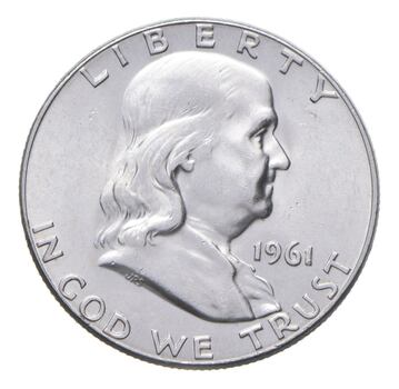 Choice AU/Unc BU 1961 Franklin Half Dollar - 90% Silver