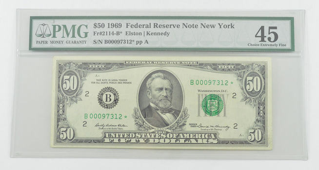 Choice Extremely Fine 45 1969 $50 Federal Reserve Note - New York - Fr#2114-B* - Graded PMG
