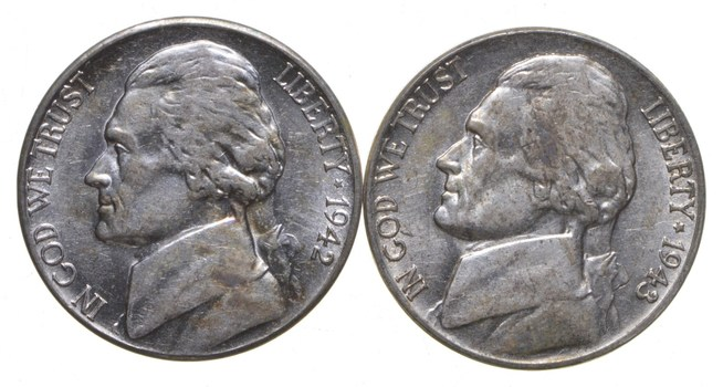 Choice - Lot of 2 SILVER Wartime Nickel 1942-1945 - WWII Era US Collection