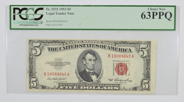 Choice New 63PPQ 1953 $5 Legal Tender Note Fr. 1532 - PCGS Graded