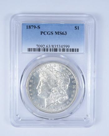 Choice Unc 1879-S Morgan Silver Dollar - Graded PCGS - MS-63