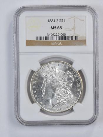 Choice Unc 1881-S Morgan Silver Dollar - Graded NGC - MS-63