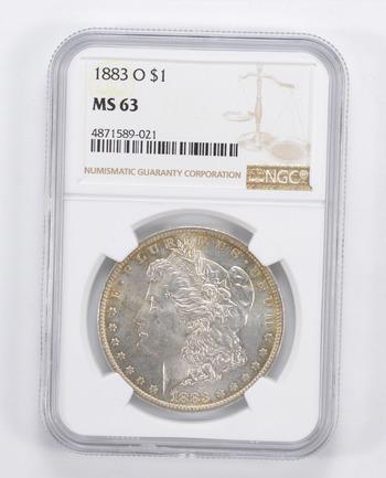 Choice Unc 1883-O Morgan Silver Dollar - Graded NGC - MS-63