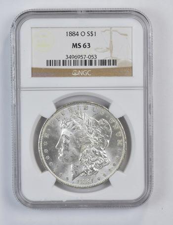 Choice Unc 1884-O Morgan Silver Dollar - Graded NGC - MS-63