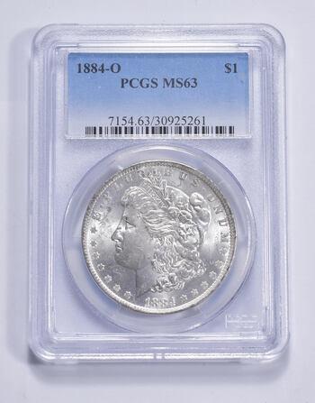 Choice Unc 1884-O Morgan Silver Dollar - Graded PCGS MS63 MS63