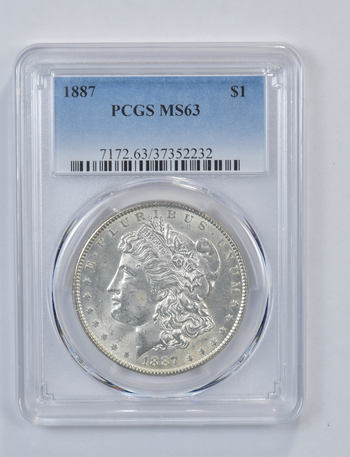 Choice Unc 1887 Morgan Silver Dollar - Graded PCGS - MS-63