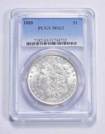 Choice Unc 1888 Morgan Silver Dollar - Graded PCGS MS63 MS63