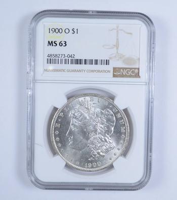 Choice Unc 1900-O Morgan Silver Dollar - Graded NGC - MS-63
