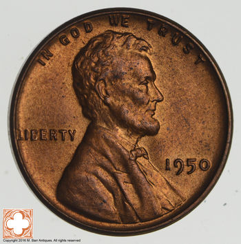 Choice Unc 1950 Lincoln Wheat Cent - Cherry!