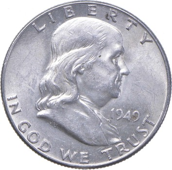 Choice Uncirculated BU MS 1949 Franklin Half Dollar - 90% Silver - Tough Coin!