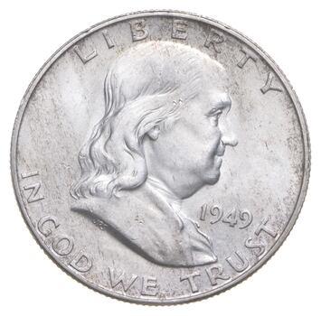 Choice Uncirculated BU MS 1949-D Franklin Half Dollar - 90% Silver - Tough Coin!