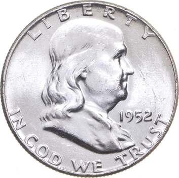 Choice Uncirculated BU MS 1952 Franklin Half Dollar - 90% Silver - Tough Coin!