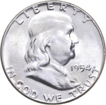 Choice Uncirculated BU MS 1954 Franklin Half Dollar - 90% Silver - Tough Coin!