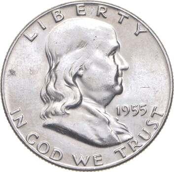 Choice Uncirculated BU MS 1955 Franklin Half Dollar - 90% Silver - Tough Coin!