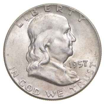 Choice Uncirculated BU MS 1957 Franklin Half Dollar - 90% Silver - Tough Coin!
