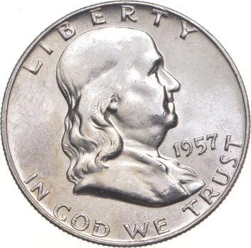 Choice Uncirculated BU MS 1957-D Franklin Half Dollar - 90% Silver - Tough Coin!