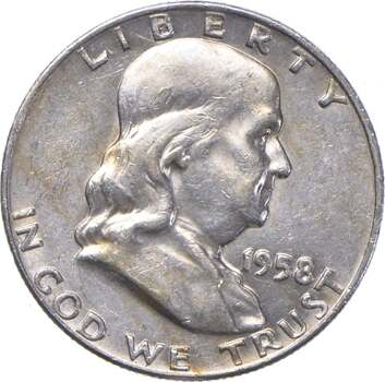 Choice Uncirculated BU MS 1958-D Franklin Half Dollar - 90% Silver - Tough Coin!