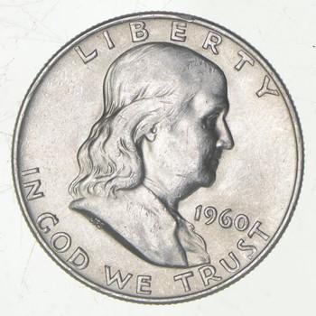 Choice Uncirculated BU MS 1960-D Franklin Half Dollar - 90% Silver - Tough Coin!