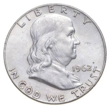 Choice Uncirculated BU MS 1962-D Franklin Half Dollar - 90% Silver - Tough Coin!