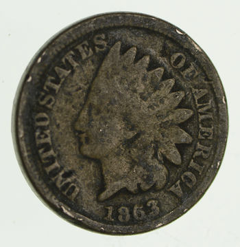 Civil War Era - 1863 Copper Nickel Indian Head Cent - Historic