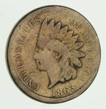 Civil War Era - 1863 Copper Nickel Indian Head Cent - Historic