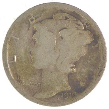 Collectible 1919 Mercury Liberty 90% Silver United States Dime