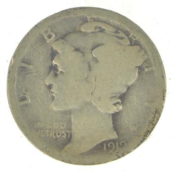 Collectible 1919-D Mercury Liberty 90% Silver United States Dime