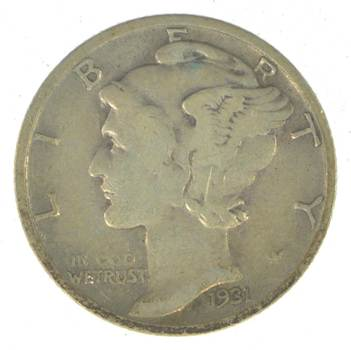 Collectible 1931-S Mercury Liberty 90% Silver United States Dime