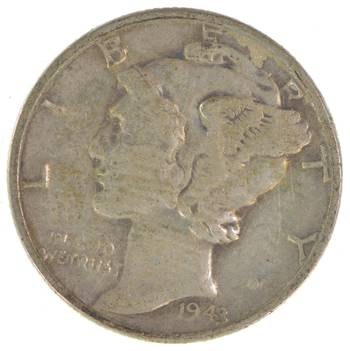 Collectible 1943 Mercury Liberty 90% Silver United States Dime