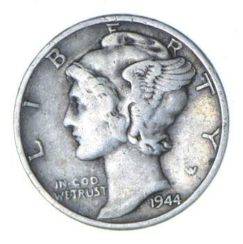 Collectible 1944 Mercury Liberty 90% Silver United States Dime