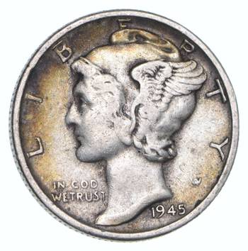 Collectible 1945-S Mercury Liberty 90% Silver United States Dime