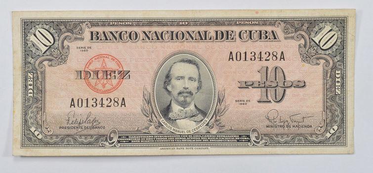 Collectible - National Bank of Cuba 10 Pesos Note -Carlos Manuel De Cespedes - Series of 1958!