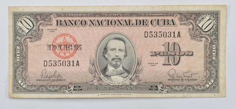 Collectible - National Bank of Cuba 10 Pesos Note - Carlos Manuel De Cespedes - Series of 1958!