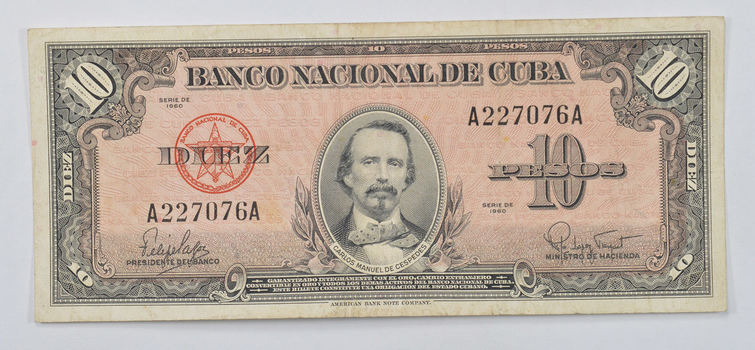 Collectible - National Bank of Cuba 10 Pesos Note - Carlos Manuel De Cespedes - Series of 1958!